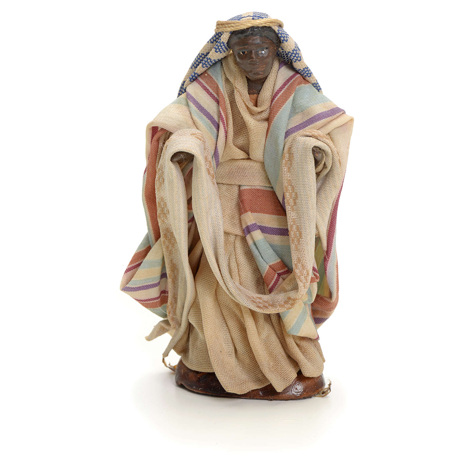Neapolitan Nativity figurine, cloth seller, 8 cm 4