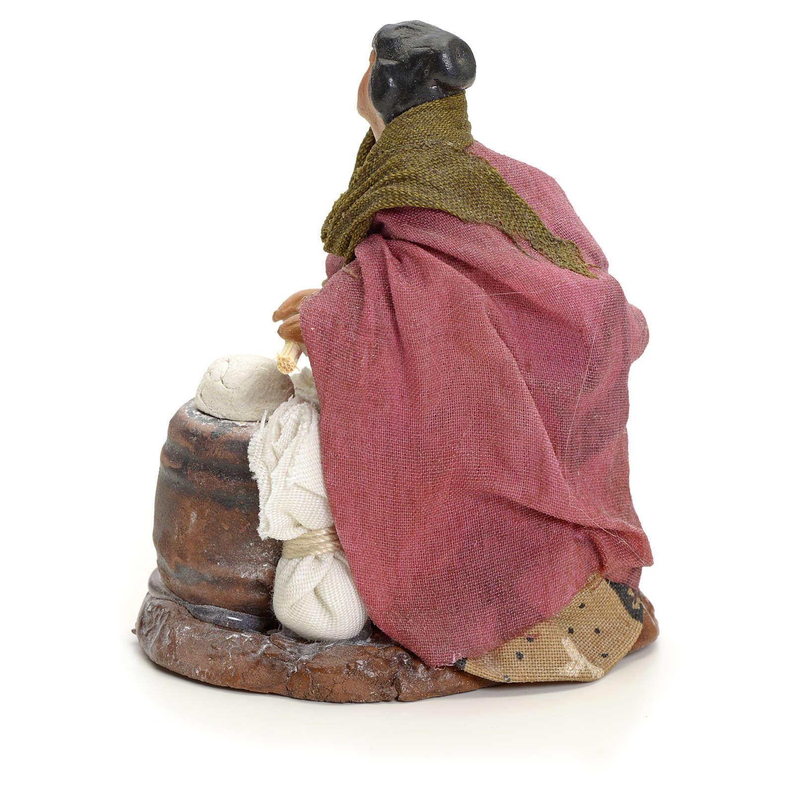Femme qui pétrit le pain crèche Napolitaine 8 cm 4