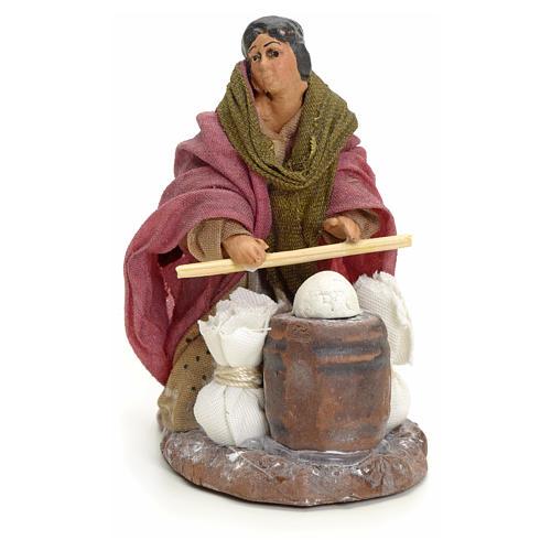 Femme qui pétrit le pain crèche Napolitaine 8 cm 1