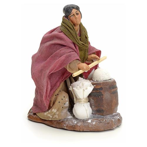 Femme qui pétrit le pain crèche Napolitaine 8 cm 2