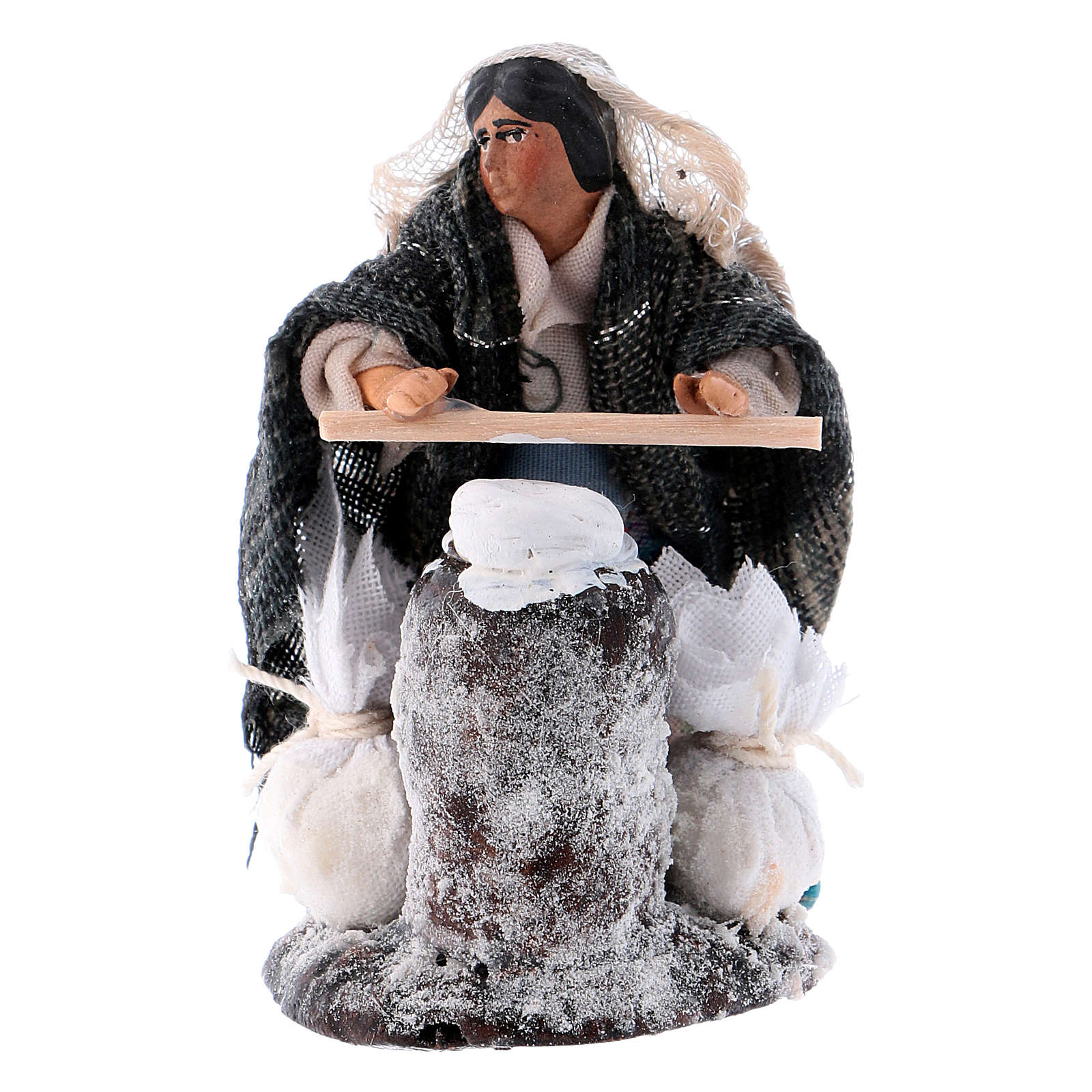 Neapolitan Nativity figurine, woman kneading dough, 8 cm 4