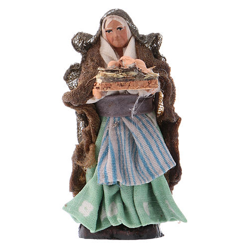 Neapolitan Nativity figurine, woman with eggs, 8 cm 1