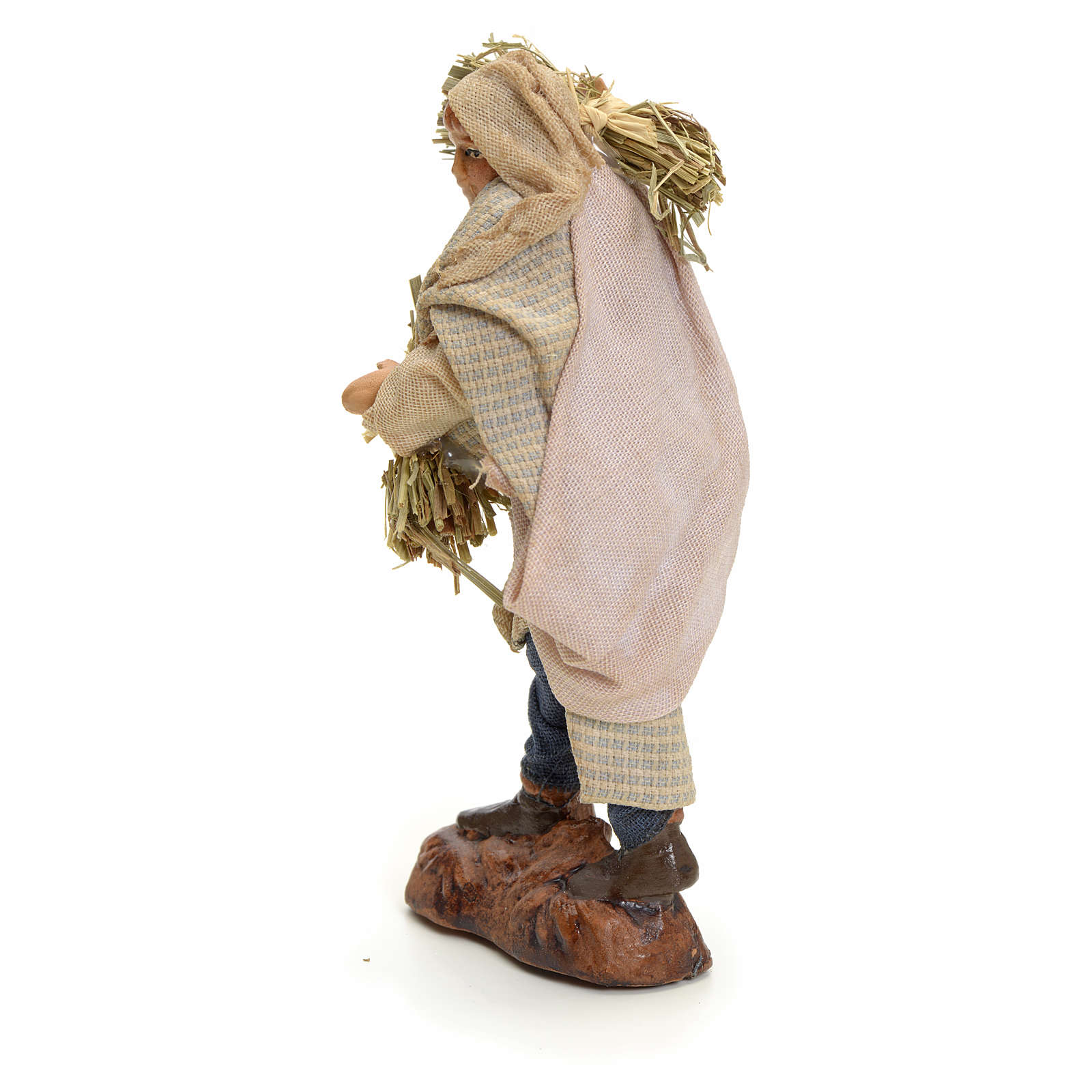 Neapolitan Nativity figurine, man with hay, 8 cm 4