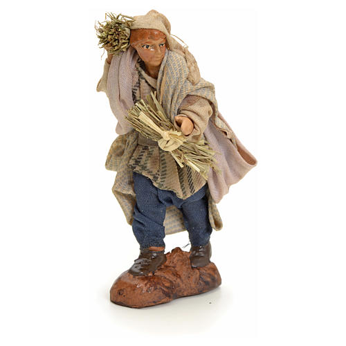Neapolitan Nativity figurine, man with hay, 8 cm 1