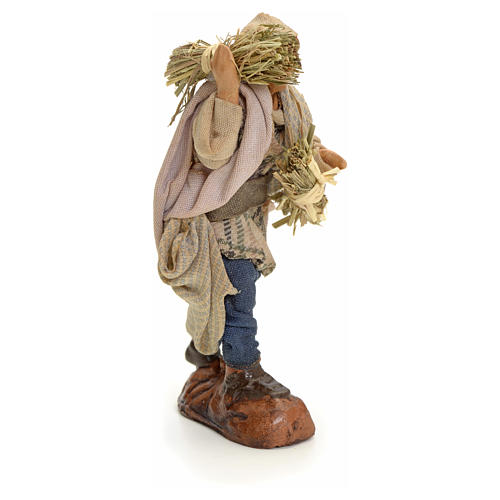 Neapolitan Nativity figurine, man with hay, 8 cm 2