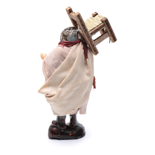 Neapolitan Nativity figurine, man carrying chair, 8 cm 2