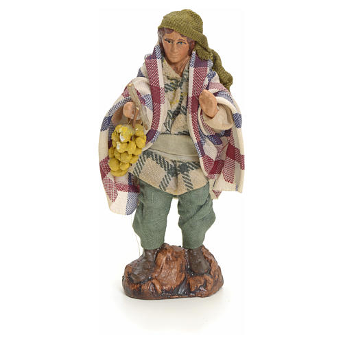Neapolitan Nativity figurine, man with grapes, 8 cm 1
