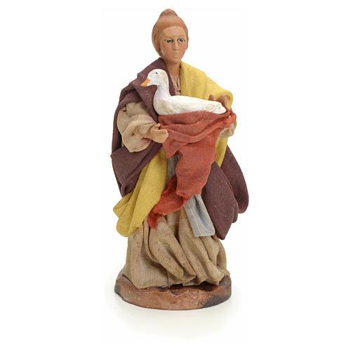 Neapolitan Nativity figurine, woman with goose, 8 cm 1