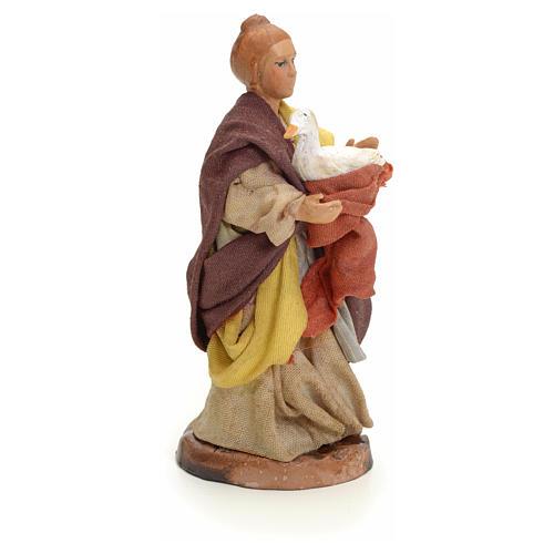 Neapolitan Nativity figurine, woman with goose, 8 cm 2