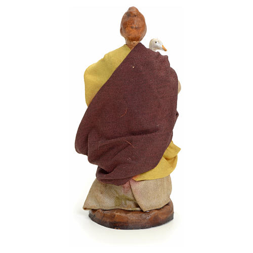Neapolitan Nativity figurine, woman with goose, 8 cm 3