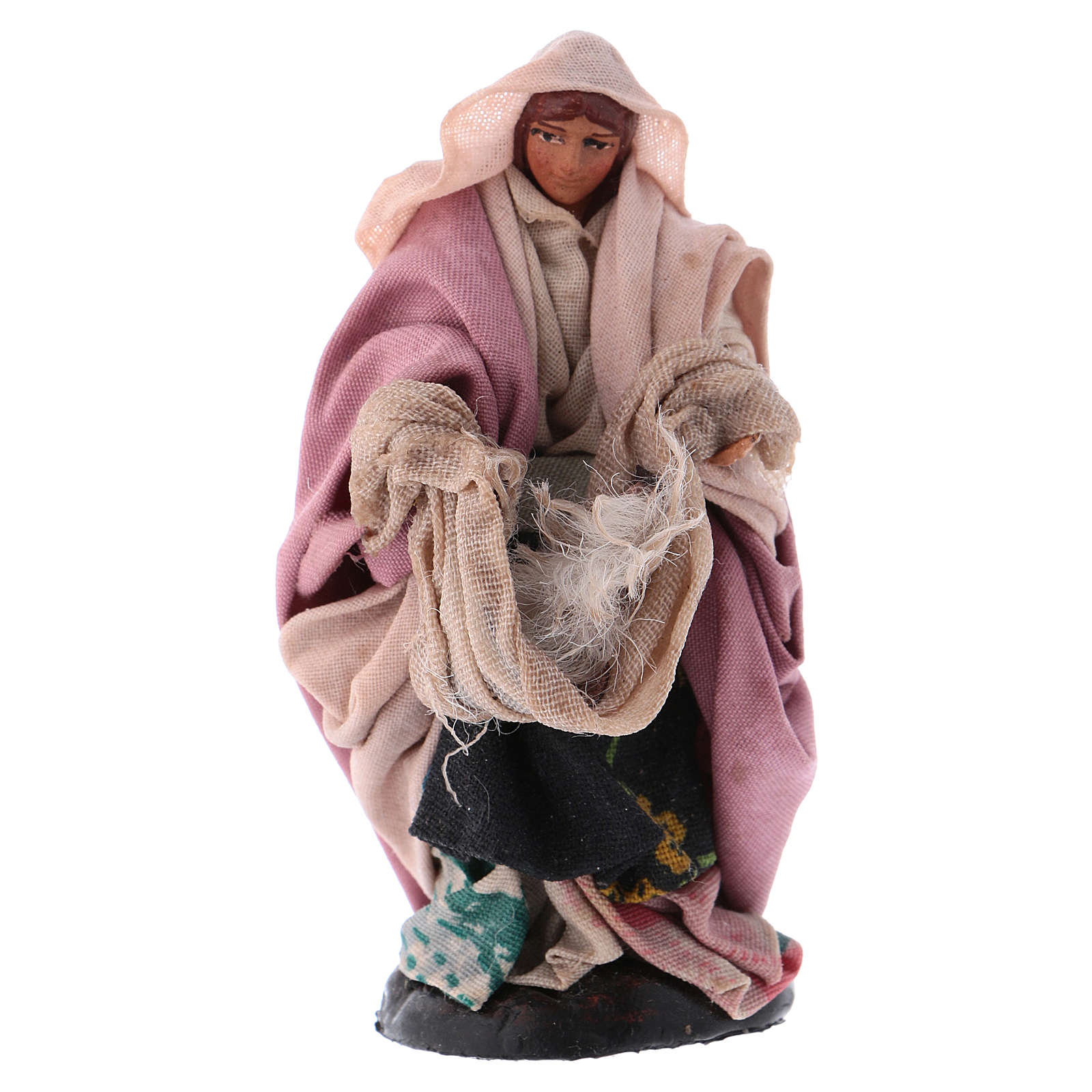 Neapolitan Nativity figurine, woman with wool, 8 cm 4