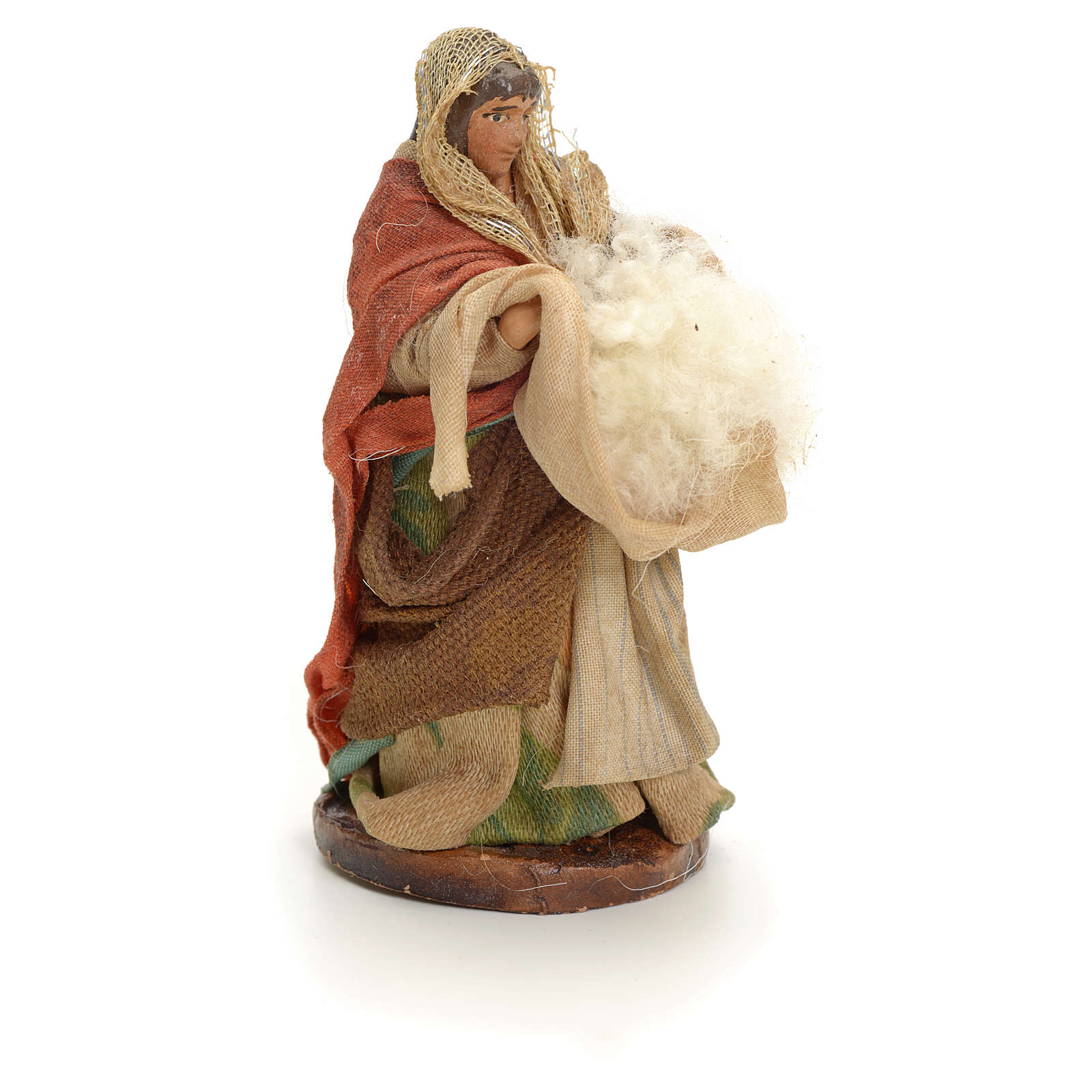 Neapolitan Nativity figurine, woman with wool, 8 cm 4