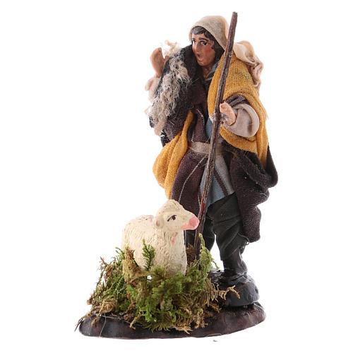 Neapolitan nativity figurine, shepherd with sheep, 8cm 2