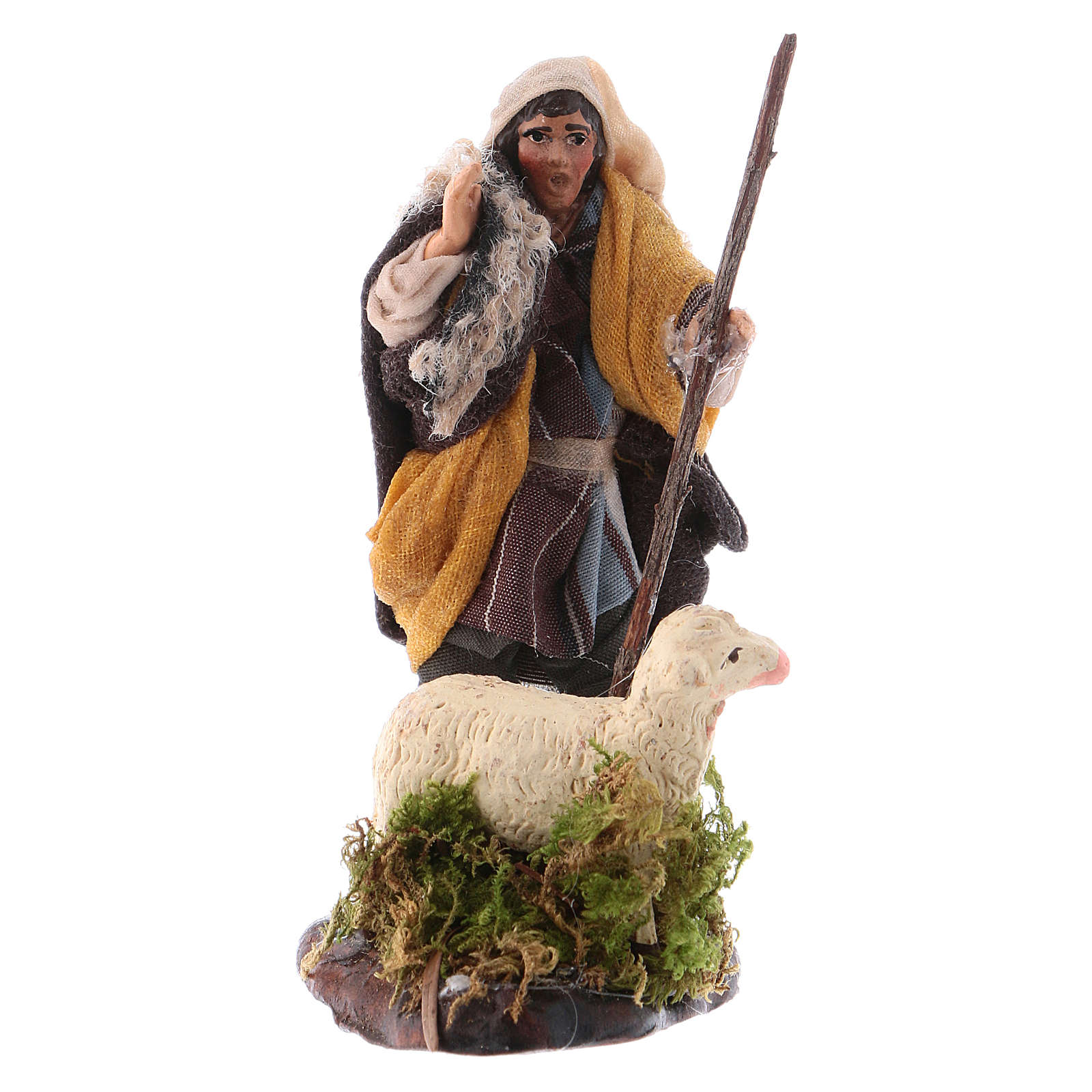 Neapolitan nativity figurine, shepherd with sheep, 8cm 4