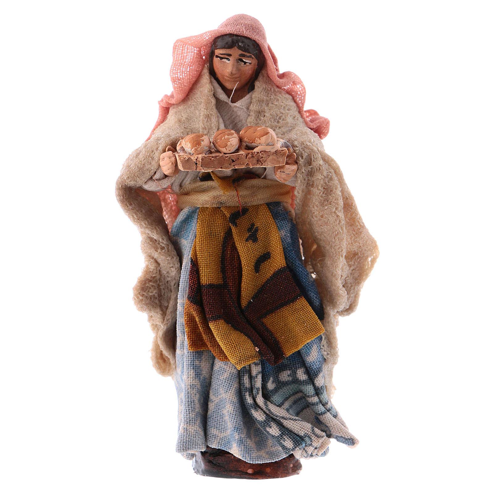 Donna con pane cm 8 presepe napoletano 4