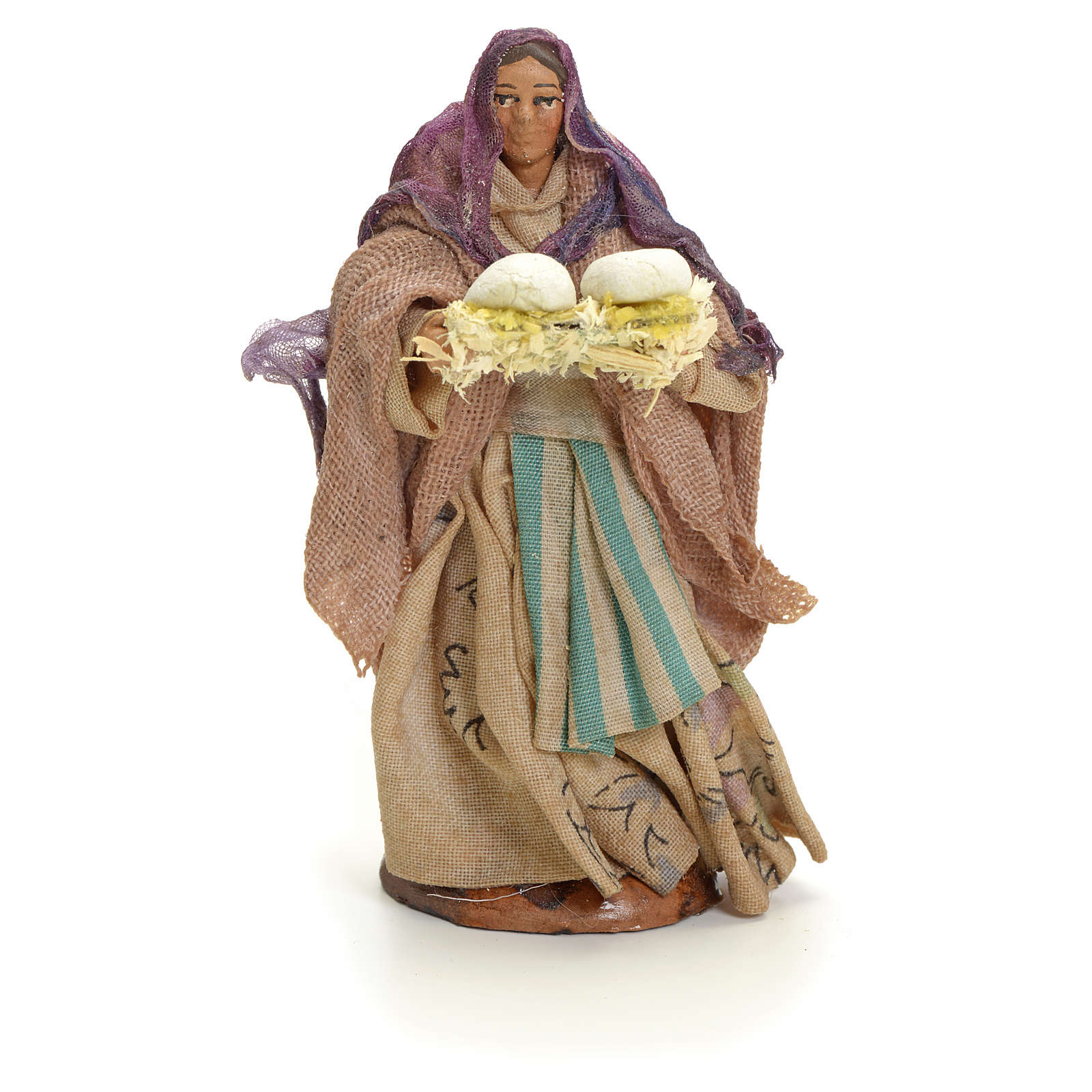 Woman with bread, 8cm for Neapolitan Nativity 4