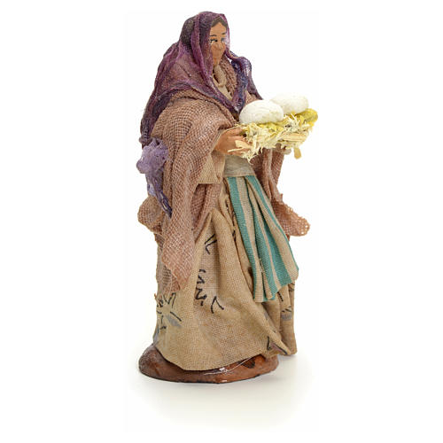 Woman with bread, 8cm for Neapolitan Nativity 2