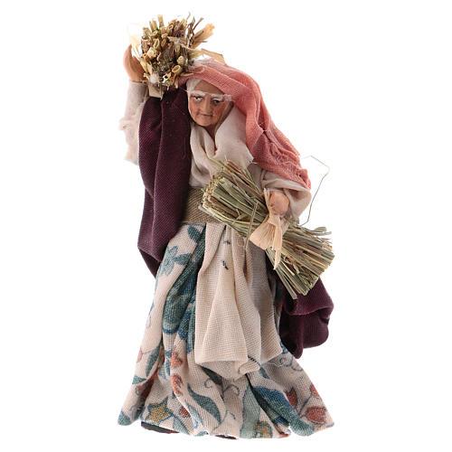 Neapolitan Nativity figurine, old woman with hay, 8 cm 1