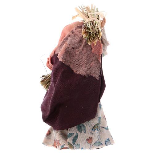 Neapolitan Nativity figurine, old woman with hay, 8 cm 2