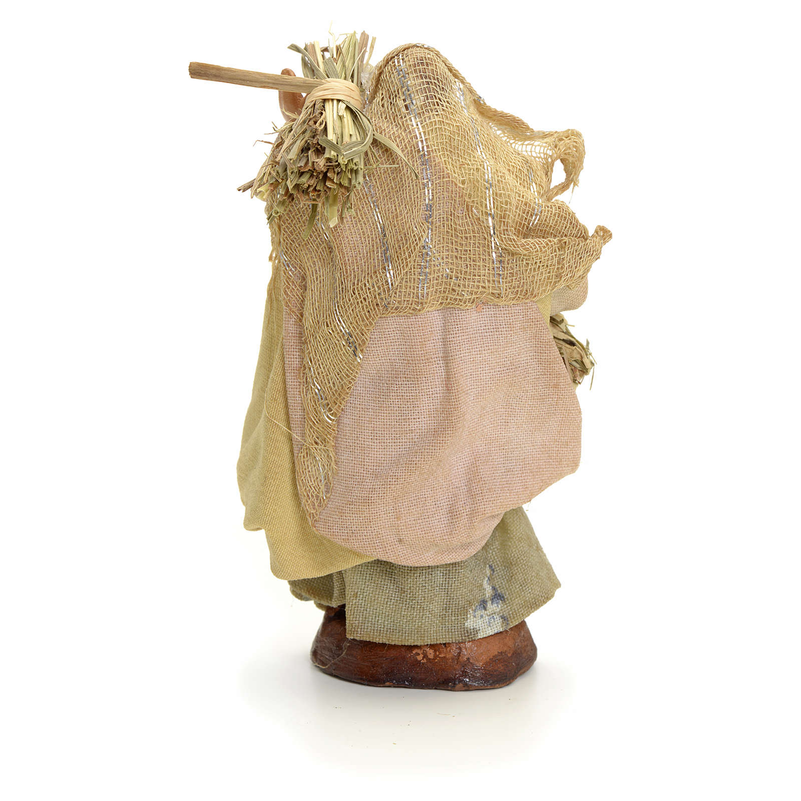 Neapolitan Nativity figurine, old woman with hay, 8 cm 4