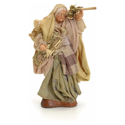 Neapolitan Nativity figurine, old woman with hay, 8 cm 1