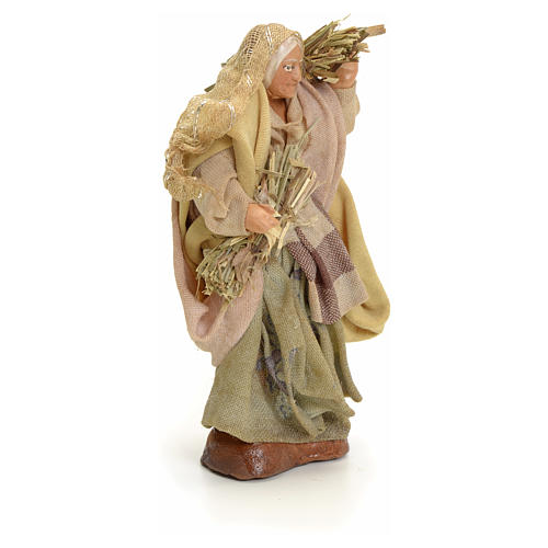 Neapolitan Nativity figurine, old woman with hay, 8 cm 2
