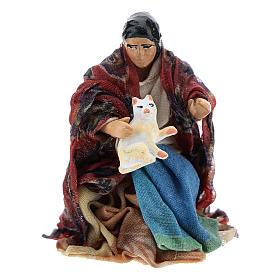 Neapolitan Nativity figurine, woman with cat, 8 cm s1