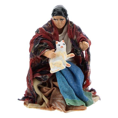 Neapolitan Nativity figurine, woman with cat, 8 cm 1