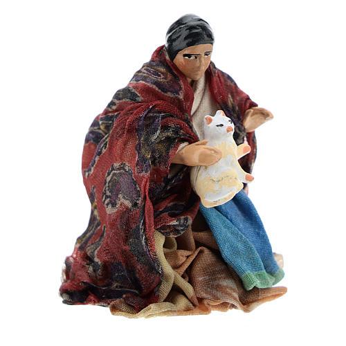Neapolitan Nativity figurine, woman with cat, 8 cm 3