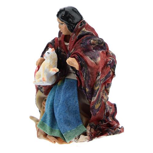 Neapolitan Nativity figurine, woman with cat, 8 cm 2
