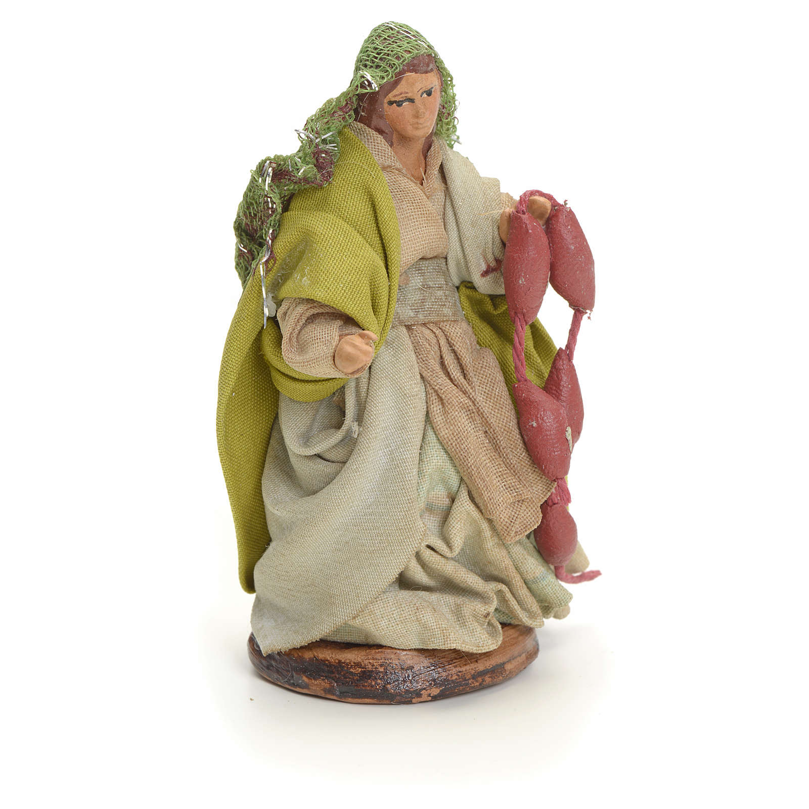Neapolitan Nativity figurine, woman with cured meat, 8 cm 4