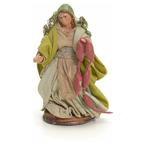 Neapolitan Nativity figurine, woman with cured meat, 8 cm 1