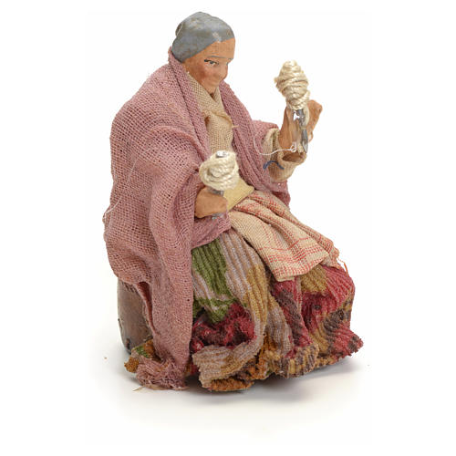 Neapolitan Nativity figurine, old lady with balls of thread, 8 c 2