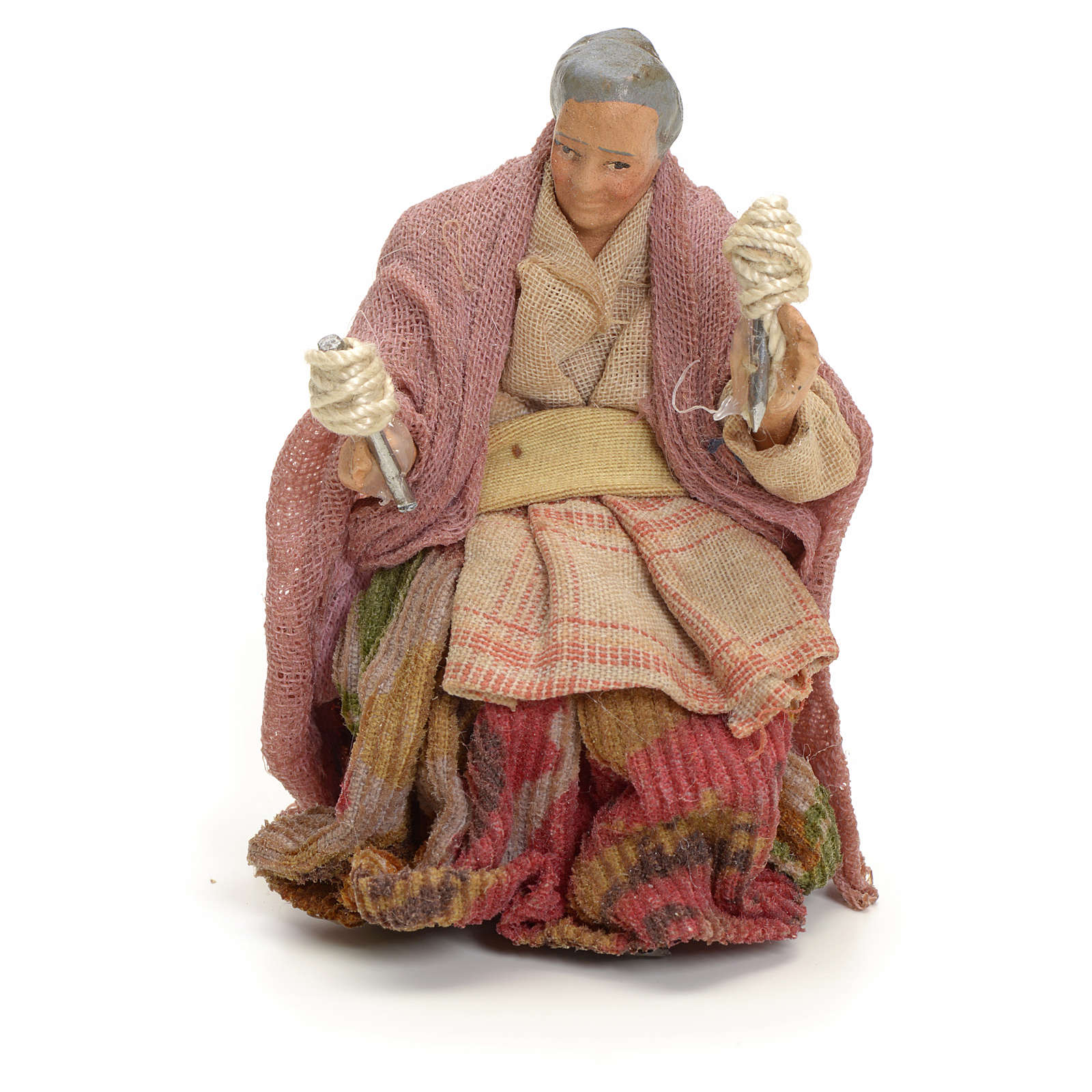 Neapolitan Nativity figurine, old lady with balls of thread, 8 c 4