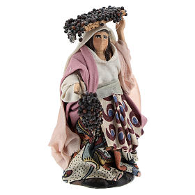Neapolitan Nativity figurine, woman with bunches of grapes, 8 cm s3