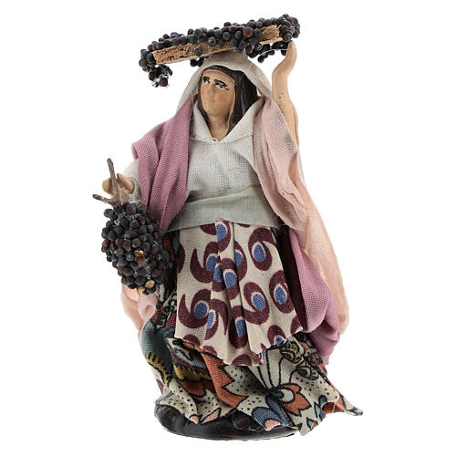 Neapolitan Nativity figurine, woman with bunches of grapes, 8 cm 1