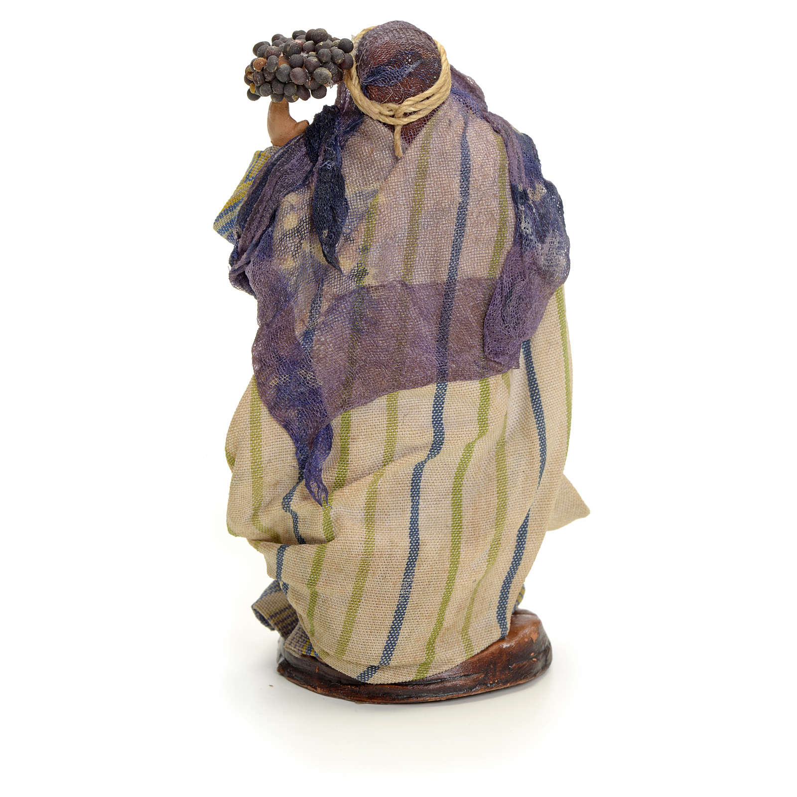 Neapolitan Nativity figurine, woman with bunches of grapes, 8 cm 4