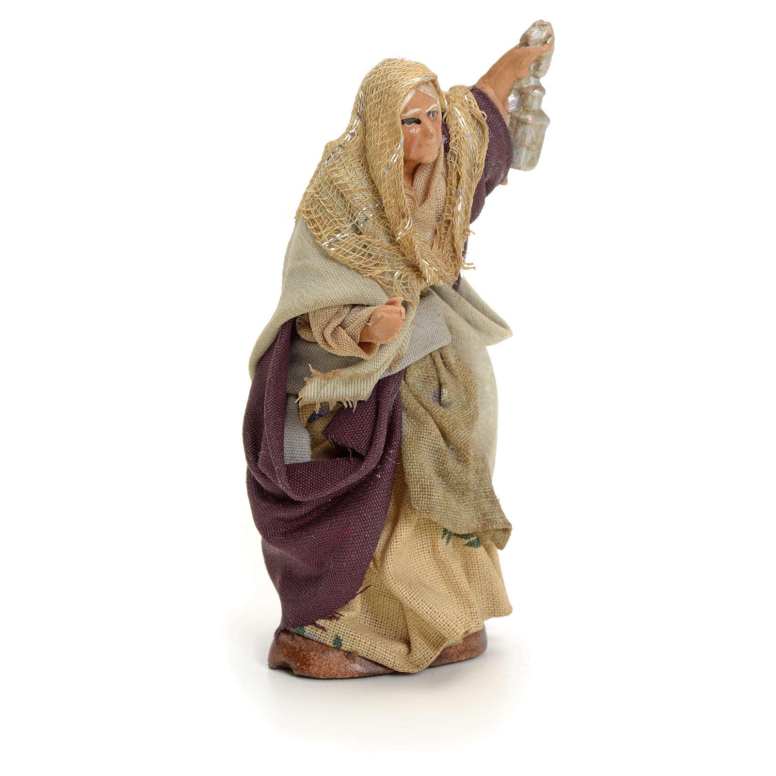 Neapolitan Nativity figurine, old lady with lantern, 8 cm 4