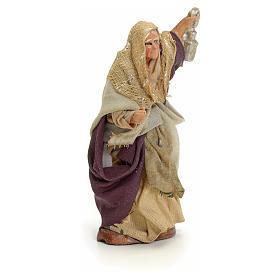 Neapolitan Nativity figurine, old lady with lantern, 8 cm s2