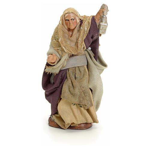 Neapolitan Nativity figurine, old lady with lantern, 8 cm 1