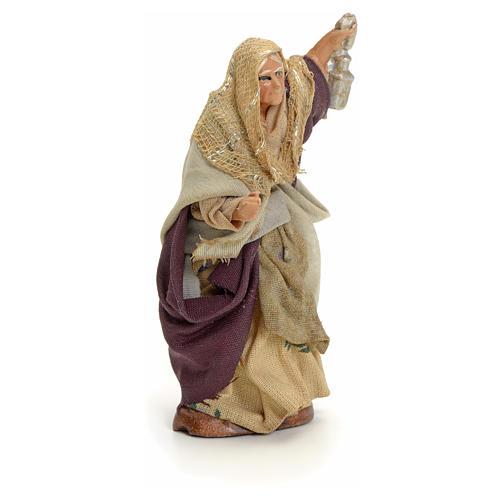 Neapolitan Nativity figurine, old lady with lantern, 8 cm 2