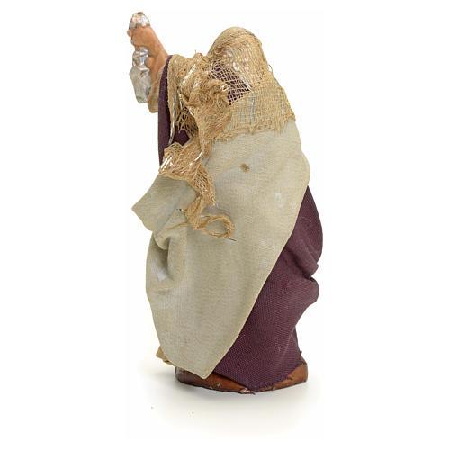 Neapolitan Nativity figurine, old lady with lantern, 8 cm 3