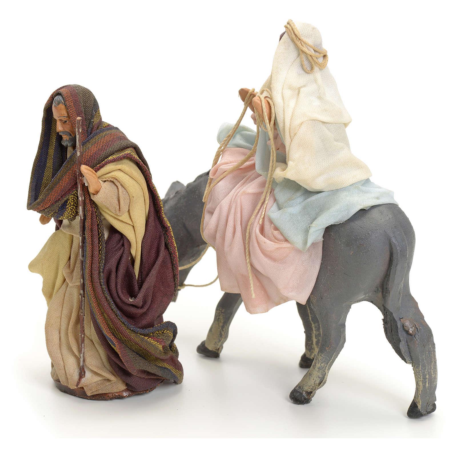 Neapolitan Nativity figurines, Joseph and pregnant Mary on donkey 8cm 4