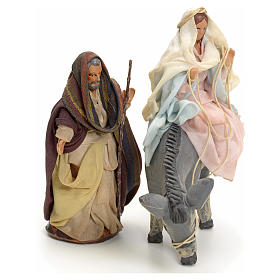 Neapolitan Nativity figurines, Joseph and pregnant Mary on donkey 8cm s3