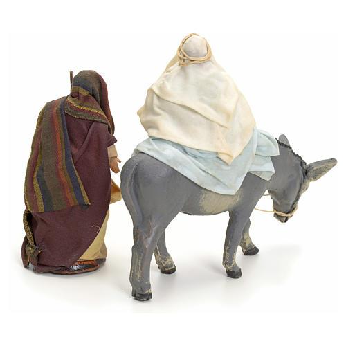 Neapolitan Nativity figurines, Joseph and pregnant Mary on donkey 8cm 2
