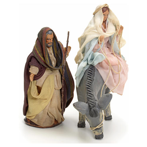 Neapolitan Nativity figurines, Joseph and pregnant Mary on donkey 8cm 3