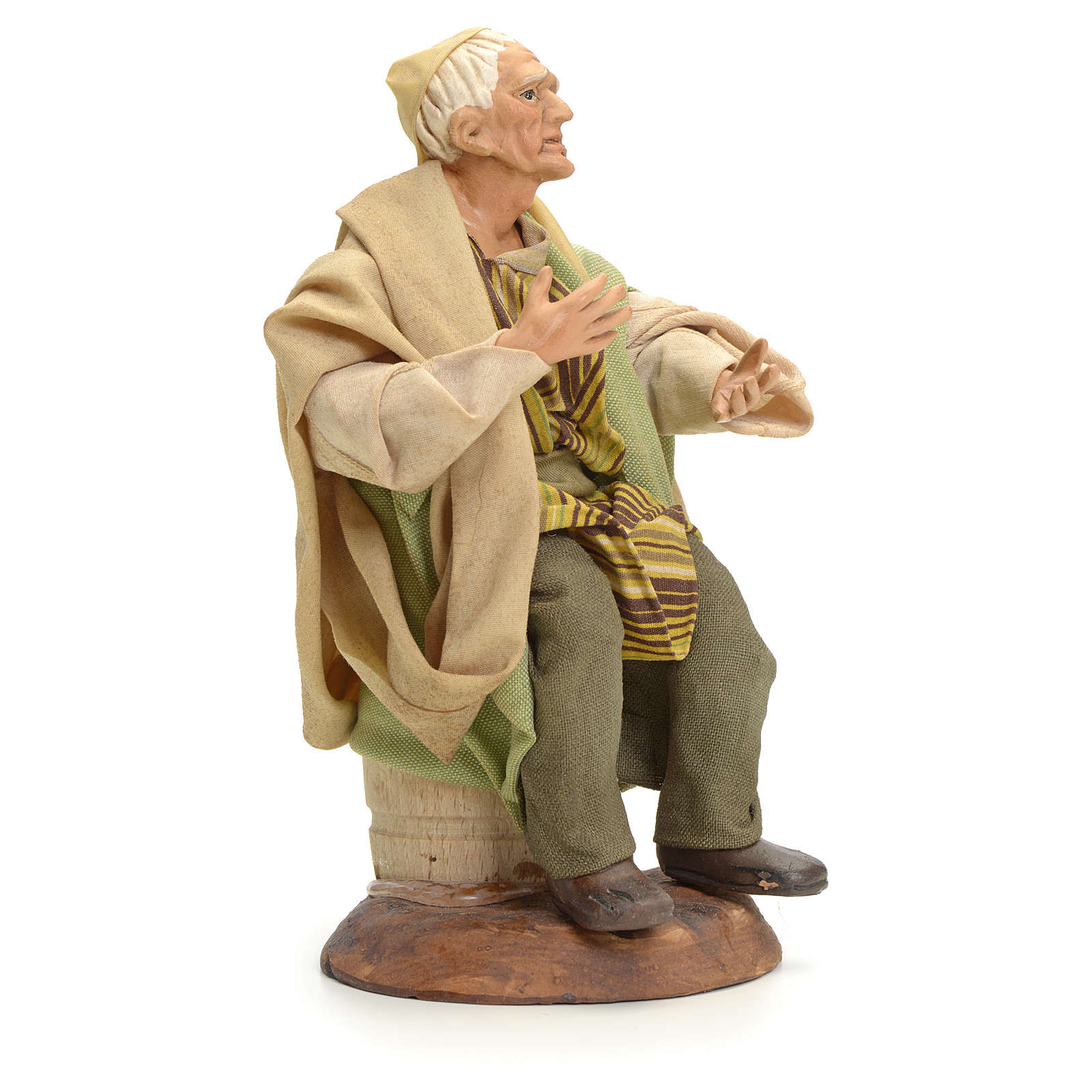 Neapolitan Nativity figurine, old man sitting, 18 cm 4