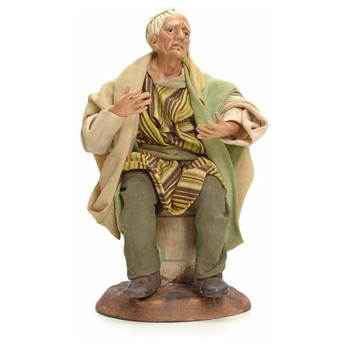 Neapolitan Nativity figurine, old man sitting, 18 cm 1