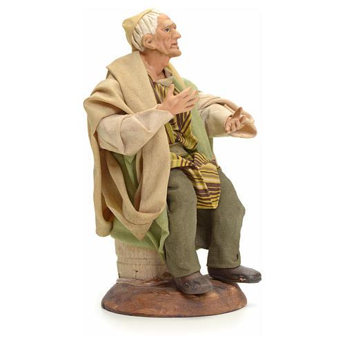 Neapolitan Nativity figurine, old man sitting, 18 cm 2