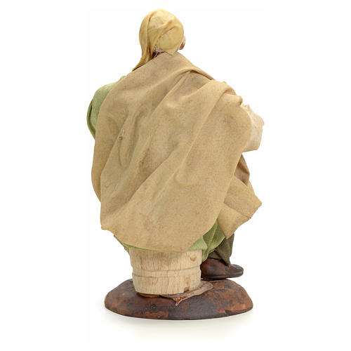 Neapolitan Nativity figurine, old man sitting, 18 cm 3